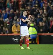9th November 2017, Pittodrie Stadium, Aberdeen, Scotland; International Football Friendly, Scotland versus Netherlands; Scotland's Kieran Tierney applauds the fans at the end