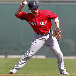 February 19, 2011; Fort Myers, FL, USA; Boston Red Sox second baseman Jed Lowrie during spring training at the Player Development Complex.  Mandatory Credit: Derick E. Hingle