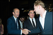 ERIC FELLNER; ANDRE BALAZS; JAN OLESEN, Party to celebrate Vanity Fair's very British Hollywood issue. Hosted by Vanity Fair and Working Title. Beaufort Bar, Savoy Hotel. London. 6 Feb 2015