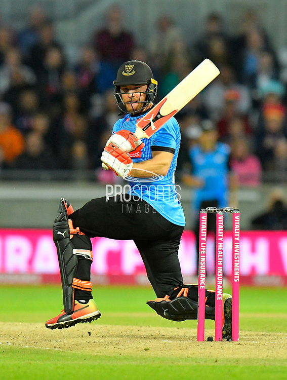 Laurie Evans of Sussex in action during the final of the Vitality T20 Finals Day 2018 match between Worcestershire Rapids and Sussex Sharks at Edgbaston, Birmingham, United Kingdom on 15 September 2018.