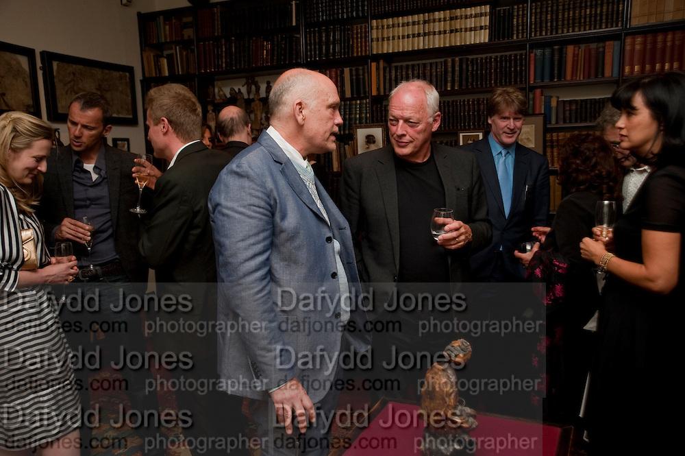 JOHN MALKOVICH; DAVID GILMOUR; MARK GETTY, Freud Museum dinner, Maresfield Gardens. 16 June 2011. <br /> <br />  , -DO NOT ARCHIVE-© Copyright Photograph by Dafydd Jones. 248 Clapham Rd. London SW9 0PZ. Tel 0207 820 0771. www.dafjones.com.