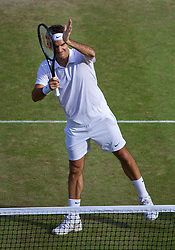 LONDON, ENGLAND - Friday, July 4, 2014: Roger Federer (SUI) celebrates after winning the Gentlemen's Singles Semi-Final match 6-4, 6-4, 6-4 on day eleven of the Wimbledon Lawn Tennis Championships at the All England Lawn Tennis and Croquet Club. (Pic by David Rawcliffe/Propaganda)