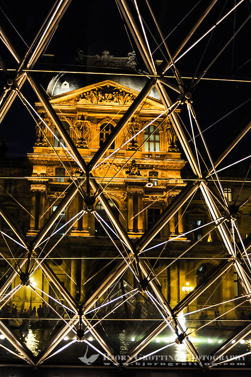 Paris, France. The Musée du Louvre is one of the world's largest museums and the most visited art museum in the world. The Louvre Pyramid at night. The Pyramid serves as the entrance.