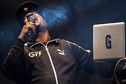 © Licensed to London News Pictures . 31/05/2015 . Manchester , UK . Grandmaster Flash ( Joseph Saddler ) performs a DJ set in Albert Square in Manchester at the end of the first night of the Grillstock Festival . Photo credit : Joel Goodman/LNP