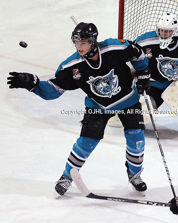 LINDSAY, ON - Nov 15 : Ontario Junior Hockey League Game Action between the Lindsay Muskies and the Aurora Tigers, James Sterne #7 of the Lindsay Muskies Hockey Club blocks the shot during first period game action.<br /> (Photo by Andy Corneau / OJHL Images)