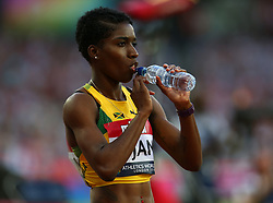 July 14, 2018 - London, United Kingdom - Janieve Russell of Jamaica compete in the 400m Hurdles Women during Athletics World Cup London 2018 at London Stadium, London, on 14 July 2018  (Credit Image: © Action Foto Sport/NurPhoto via ZUMA Press)