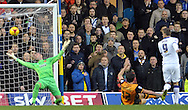 Chris Wood of Leeds United scores the opening goal against Hull City during the Sky Bet Championship match at Elland Road, Leeds<br /> Picture by Graham Crowther/Focus Images Ltd +44 7763 140036<br /> 05/12/2015