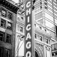 Chicago Theatre sign black and white picture.  The Chicago Theatre is an iconic Chicago attraction an is a popular venue for stage performances. The Chicago Theater is a landmark listed with the National Register of Historic Places.