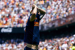 May 20, 2018 - Valencia, Valencia, Spain - Rodrigo Moreno of Valencia CF takes his t-shirt off during the La Liga game between Valencia CF and Deportivo de la Coruna at Mestalla on May 20, 2018 in Valencia, Spain  (Credit Image: © David Aliaga/NurPhoto via ZUMA Press)