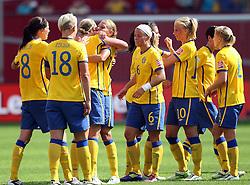 28.06.2011, FIFA Frauen-WM-Stadion Leverkusen, Leverkusen, GER, FIFA Women Worldcup 2011, Gruppe C, Kolumbien (COL) vs. Schweden (SWE), im Bild:  Jubel bei den Schweden nach dem 1:0 Sieg    // during the FIFA Women´s Worldcup 2011, Pool C, Colombia vs Sweden on 2011/06/28, FIFA Frauen-WM-Stadion Leverkusen, Leverkusen, Germany.   EXPA Pictures © 2011, PhotoCredit: EXPA/ nph/  Mueller *** Local Caption ***       ****** out of GER / CRO  / BEL ******