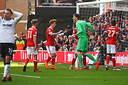 Forest players gesture to Nottingham Forest's Costel Pantilimon after he makes an important save during the EFL Sky Bet Championship match between Nottingham Forest and Derby County at the City Ground, Nottingham, England on 11 March 2018. Picture by John Potts.