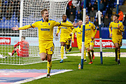 1-2, goal celebration by Marcus Forss of Wimbledon  during the EFL Sky Bet League 1 match between Bolton Wanderers and AFC Wimbledon at the University of  Bolton Stadium, Bolton, England on 7 December 2019.