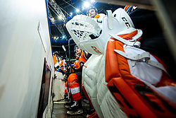 Philadelphia Flyers bench during NHL game between teams Chicago Blackhawks and Philadelphia Flyers at NHL Global Series in Prague, O2 arena on 4th of October 2019, Prague, Czech Republic. Photo by Grega Valancic / Sportida