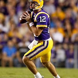 November 13, 2010; Baton Rouge, LA, USA; LSU Tigers quarterback Jarrett Lee (12) looks to pass during the first half against the Louisiana Monroe Warhawks at Tiger Stadium.  Mandatory Credit: Derick E. Hingle