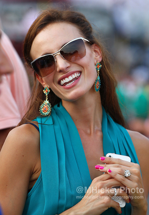 June 30, 2012; Sparta, IN, USA; Samantha Busch wife of NASCAR Sprint Cup Series driver Kyle Busch watches the action during the Quaker State 400 at Kentucky Speedway. Mandatory credit: Michael Hickey-US PRESSWIRE