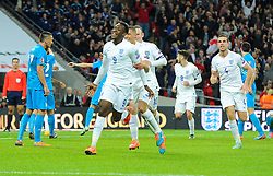 Danny Welbeck of England (Arsenal) celebrates  scoring  his first goal of the game  - Photo mandatory by-line: Joe Meredith/JMP - Mobile: 07966 386802 - 15/11/2014 - SPORT - Football - London - Wembley - England v Slovenia - EURO 2016 Qualifier