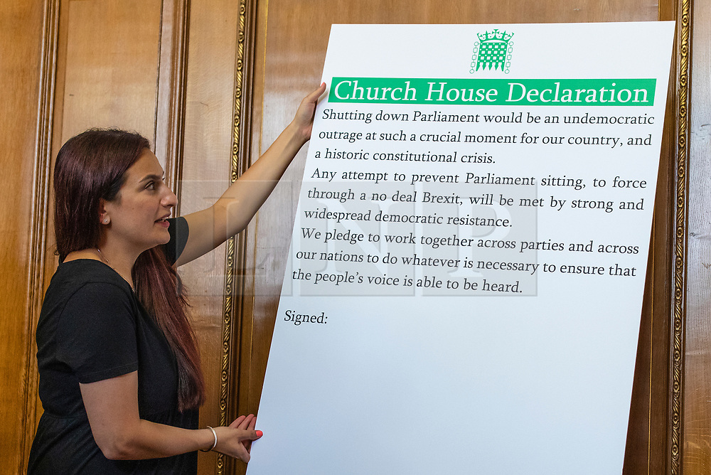 © Licensed to London News Pictures. 27/08/2019. London, UK. Independent MP for Liverpool Wavertree Luciana Berger positions the 'Church House Declaration'. A number of MPs and party leaders have signed the declaration today to assert their commitment to avoiding a no deal exit from the EU. Photo credit: Rob Pinney/LNP