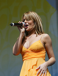 Cheryl Cole, of Girls Aloud, performing on stage at the Live and Loud concert at Hampden Stadium, 2004..Pic ©2010 Michael Schofield. All Rights Reserved.