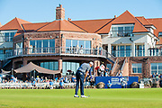 Benjamin Hebert (FRA) sinks his final putt on the 18th green during the final round of the Aberdeen Standard Investments Scottish Open at The Renaissance Club, North Berwick, Scotland on 14 July 2019.