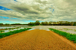 30 Apr 2019: Muddy water rolls as the creeks overflows banks and into the flood plane in McLean and Dewitt County Illinois