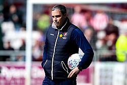 Cheltenham Town manager Michael Duff - Mandatory by-line: Robbie Stephenson/JMP - 13/04/2019 - FOOTBALL - Sincil Bank Stadium - Lincoln, England - Lincoln City v Cheltenham Town - Sky Bet League Two