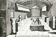 'Interior of a chemical laboratory at Utrecht.n From ''Pyrosophia ...'', Leyden, 1698, by Johann Konrad Barchusen.'