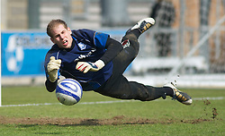 COLCHESTER, ENGLAND - Saturday, April 24, 2010: Tranmere Rovers' goalkeeper Peter Gulasci warms up ahead of the match against Colchester United in the Football League One match at the Western Community Stadium. (Photo by Gareth Davies/Propaganda)