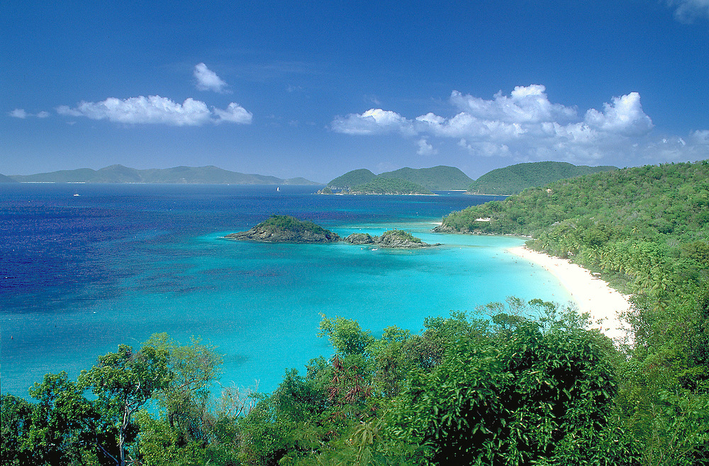 Turquoise waters of Trunk Bay on the island of St. John in the US Virgin Islands