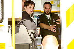 Pictured: Ruth Davison and Callum Johnston<br /> Scottish Conservative leader Ruth Davidson, MSP,  joined shadow health secretary Miles Briggs to launch the party's Health Advisory Board at the Scottish ASmbulance Service Southeast Divisional HQ.  Ms Davidson and Mr Briggs were shown the equipment in the average ambulance by Richard Paton, Ambulance Service manager and Callum Johnston, Specialist medic.<br /> <br /> Ger Harley   EEm 7 March 2017