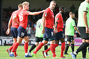 Jon Parkin of York City (9) scores a goal and celebrates to make the score 1-1 during the Vanarama National League North match between York City and Curzon Ashton at Bootham Crescent, York, England on 18 August 2018.