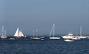 boats on mooring buouys in harbor; sail & motor; anchorage; Cape Cod; Provincetown; MA; Massachusetts; summer