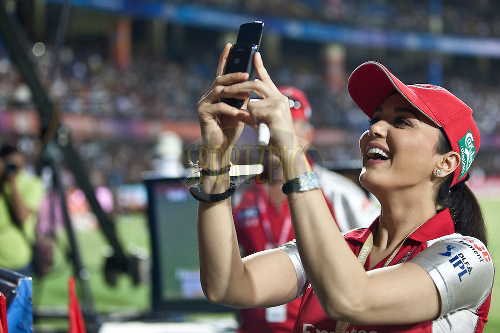 KXiP co-owner Prety Zinta during match 57 of the Indian Premier League ( IPL ) Season 4 between the Kochi Tuskers Kerala and the Kings XI Punjab held at the Holkar Stadium in Indore, Madhya Pradesh, India on the 13th May  2011..Photo by Saikat Das/BCCI/SPORTZPICS.