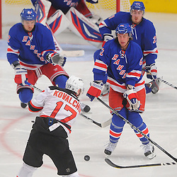 May 16, 2012: New York Rangers center Artem Anisimov (42), left wing Carl Hagelin (62) and defenseman Ryan McDonagh (27) line up to block New Jersey Devils left wing Ilya Kovalchuk's (17) shot intended for New York Rangers goalie Henrik Lundqvist (30) during third period action in game 2 of the NHL Eastern Conference Finals between the New Jersey Devils and New York Rangers at Madison Square Garden in New York, N.Y. The Devils defeated the Rangers 3-2.