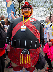 Glasgow, UK. 29 April, 2018. Start of Kiltwalk 2018 at Glasgow Green in Glasgow. Major charity fundraising walk is taking place in Scotland supported by The Hunter Foundation. Route is 23 Miles and ends at Balloch. Pictured. Participant in Scottish sumo suit.