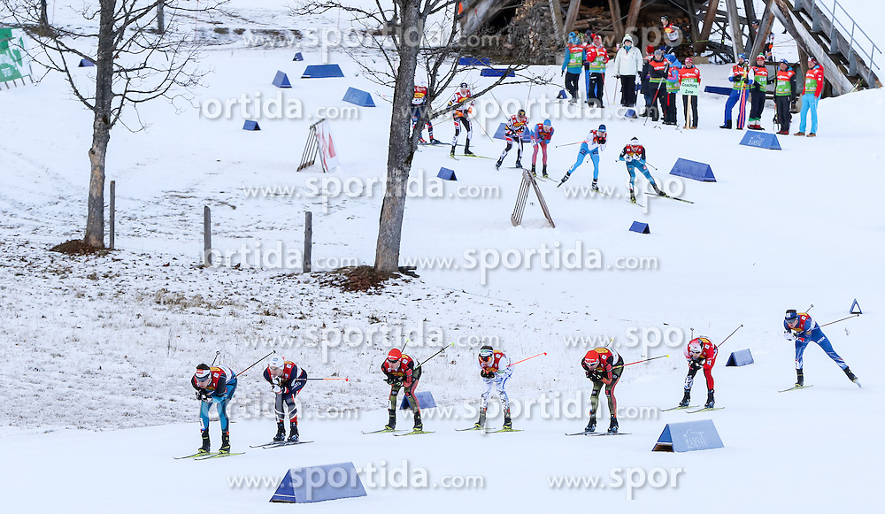 17.12.2016, Nordische Arena, Ramsau, AUT, FIS Weltcup Nordische Kombination, Langlauf, im Bild eine Gruppe von Athleten in einer Abfahrt // athletes during Cross Country Competition of FIS Nordic Combined World Cup, at the Nordic Arena in Ramsau, Austria on 2016/12/17. EXPA Pictures © 2016, PhotoCredit: EXPA/ Martin Huber