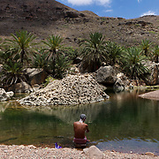 Nature pool, Diksam Plateau, central Socotra Island, listed as World Heritage by UNESCO, Aden Governorate, Yemen, Arabia, West Asia