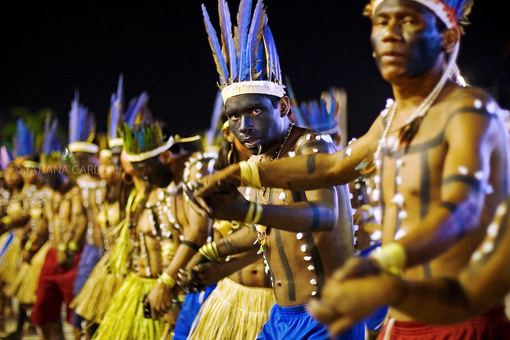 Xerente People dancing during the Indigenous Festival.