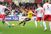 Oxford United midfielder Kemar Roofe strikes the ball and hits the post during the Sky Bet League 2 match between Stevenage and Oxford United at the Lamex Stadium, Stevenage, England on 31 October 2015. Photo by Jemma Phillips.