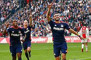 04-10-2015 VOETBAL: AJAX-PSV:AMSTERDAM<br /> Gaston Pereiro van PSV viert zijn doelpunt met Luciano Narsingh van PSV <br /> <br /> Foto: Geert van Erven