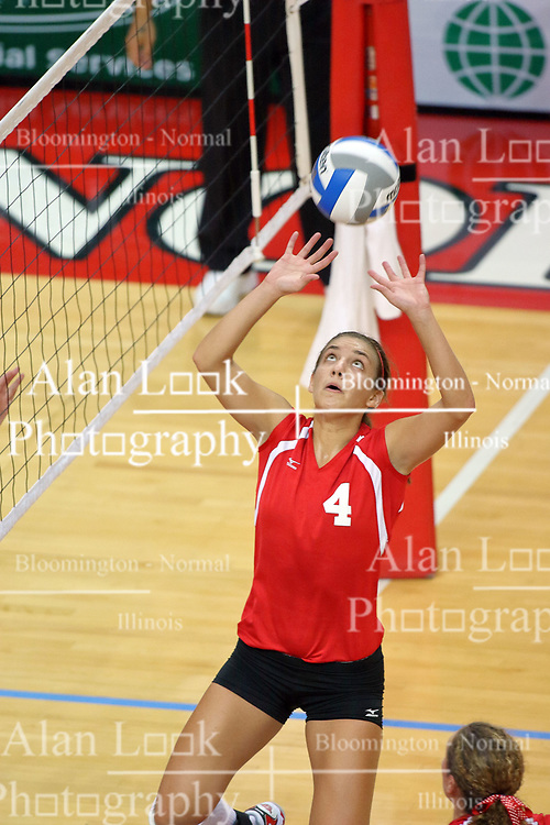 25 AUG 2007: Redhawk Andrea Atteberry sets the ball. By a score of 3 games to 1,  Illinois State University Redbirds defeated the Redhawks of Miami of Ohio at Redbird Arena on the campus of Illinois State University in Normal Illinois.