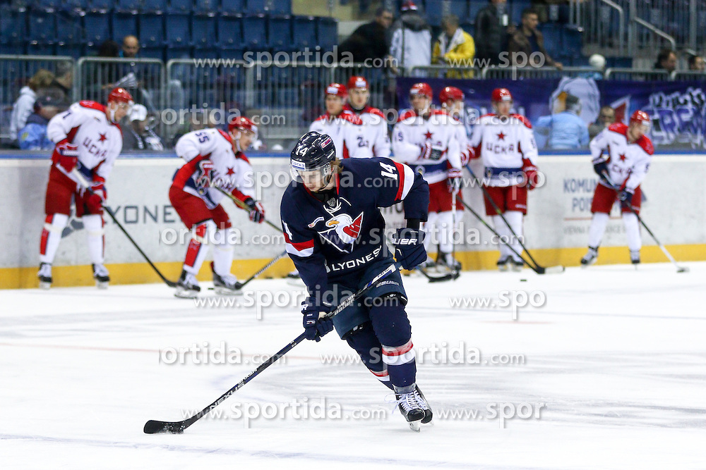 Ziga Jeglic of Slovan Bratislava during KHL League ice hockey match between HK Slovan Bratislava and CSKA Moscow, on February 27, 2015 in Ondrej Nepela Arena, Bratislava, Slovakia. Photo by Matic Klansek Velej / Sportida