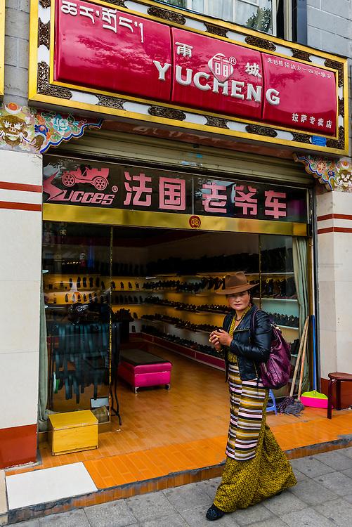 Street scene, Lhasa, Tibet (Xizang), China.