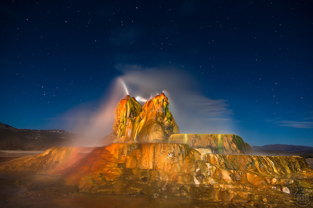 """""""Fly Geyser at Night 6"""" - Photograph of the famous man made Fly Geyser in Nevada, shot at night"""