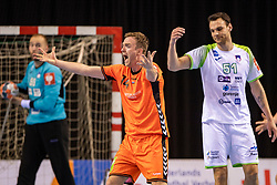 11-04-2019 NED: Netherlands - Slovenia, Almere<br /> Third match 2020 men European Championship Qualifiers in Topsportcentrum in Almere. Slovenia win 26-27 / Bobby Schagen #14 of Netherlands, Borut Mackovsek #51 of Slovenia