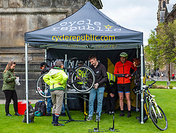 Kiosk in St Andrews Square organised by Police Scotland for cyclists to have security markings added to bicycles to prevent theft, Edinburghl,Scotland UK