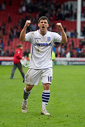 SHEFFIELD, ENGLAND - Saturday, March 17, 2012: Tranmere Rovers' David Buchanan celebrates his side's 1-1 draw with Sheffield United during the Football League One match at Bramall Lane. (Pic by David Rawcliffe/Propaganda)