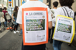 May 24, 2019 - Milan, Italy - Global strike for future, the global strike for the climate launched by the Swedish Greta Thunberg, organized by the Fridays for Future movement and the coordination of environmental realities Milan for the climate, on May 24 2019  (Credit Image: © Mairo Cinquetti/NurPhoto via ZUMA Press)