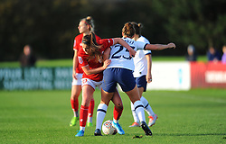 Carla Humphrey of Bristol City competes with  Hanna Godfrey of Tottenham Hotspur Women- Mandatory by-line: Nizaam Jones/JMP - 27/10/2019 - FOOTBALL - Stoke Gifford Stadium - Bristol, England - Bristol City Women v Tottenham Hotspur Women - Barclays FA Women's Super League