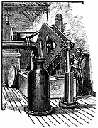 South Durham Salt Works, England: pumping engine for lifting brine from borehole.  Engraving 1884