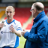 St Johnstone v Hearts...03.08.14  Steven Anderson Testimonial<br /> Steven Anderson thanks the fans at full time<br /> Picture by Graeme Hart.<br /> Copyright Perthshire Picture Agency<br /> Tel: 01738 623350  Mobile: 07990 594431